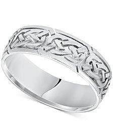 Celtic Wedding Band in 14k White Gold