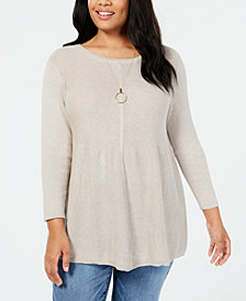 Style & Co Plus Size Mixed-Stitch Tunic Sweater, Created for Macy's
