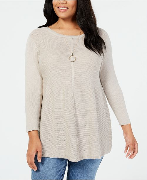 54d6677d96d Style & Co Plus Size Mixed-Stitch Tunic Sweater, Created for Macy's ...