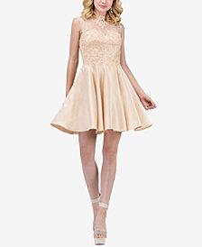 Dancing Queen Juniors' Lace-Appliqué Fit & Flare Dress