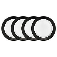 Moonbeam Ring Black Melamine 4-Pc. Salad Plate Set