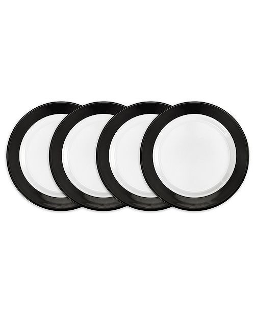 Q Squared Moonbeam Ring Black Melamine 4-Pc. Salad Plate Set