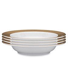 Q Squared Moonbeam Ring Gold Melamine 4-Pc. Pasta Bowl Set