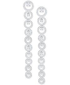 Swarovski Silver-Tone Crystal Linear Drop Earrings
