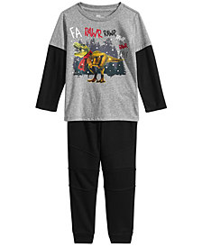 Epic Threads Little Boys Dino Rawr Graphic T-Shirt & Jogger Pants Separates, Created for Macy's