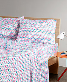 Intelligent Design Multicolor Chevron 4-PC King Microfiber Printed Sheet