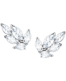 Silver-Tone Crystal Leaf Stud Earrings