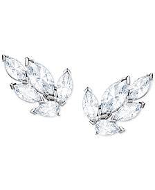 Swarovski Silver-Tone Crystal Leaf Stud Earrings