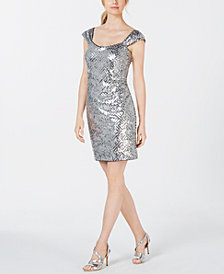 Calvin Klein Metallic Sequin Sheath Dress