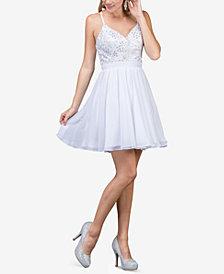 Dancing Queen Juniors' Embellished Appliqué Fit & Flare Dress