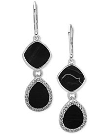 Nine West Silver-Tone Pavé & Stone Double Drop Earrings