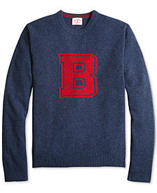 Brooks Brothers Men's Red Fleece Collegiate Intarsia-Knit Donegal Wool Sweater