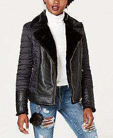 GUESS Mixed-Media Reversible Jacket
