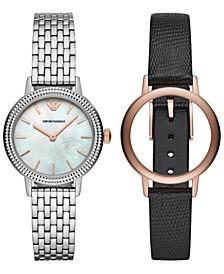 Women's Stainless Steel Bracelet & Black Leather Strap Watch 32mm Gift Set