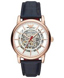Emporio Armani Men's Blue Leather Strap Watch 43mm