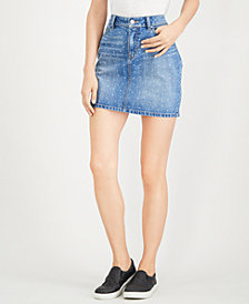 Rewash Juniors' Rhinestone-Embellished Denim Mini Skirt