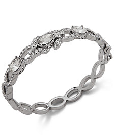Jenny Packham Silver-Tone Stone & Crystal Bangle Bracelet