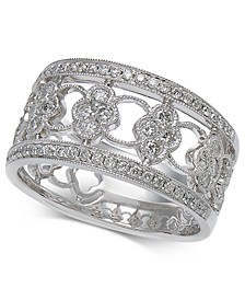 Diamond Openwork Floral Band (5/8 ct. t.w.) in 14k White Gold