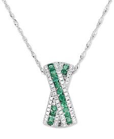 """Emerald (3/8 ct. t.w.) & Diamond (1/4 ct. t.w.) Crisscross 18"""" Pendant Necklace in 14k White Gold"""