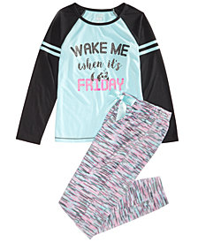 Max & Olivia Big Girls 2-Pc. Wake Me When It's Friday Pajamas Set, Created for Macy's
