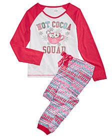 Max & Olivia Big Girls 2-Pc. Hot Cocoa Squad Pajama Set, Created for Macy's