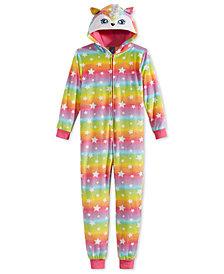 Max & Olivia Big Girls Rainbow Unicorn Hooded Onesie, Created for Macy's