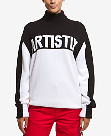 ARTISTIX Cotton Graphic Turtleneck Sweater