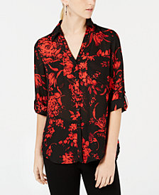BCX Juniors' Roll-Tab-Sleeve Floral-Print Shirt