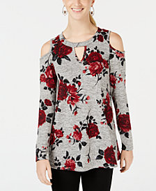 BCX Juniors' Floral-Print Cold-Shoulder