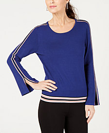 Alfani Petite Varsity-Striped Sweater, Created for Macy's