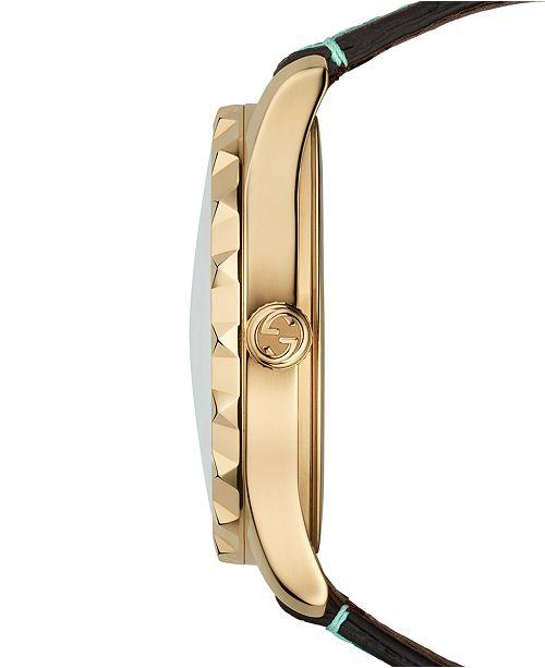 6764135481e ... Gucci Women s Swiss G-Timeless Blue Flower Print Leather Strap Watch ...
