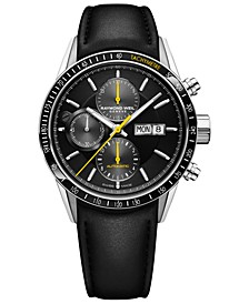 Men's Swiss Automatic Chronograph Freelancer 5000 Black Leather Strap Watch 42mm