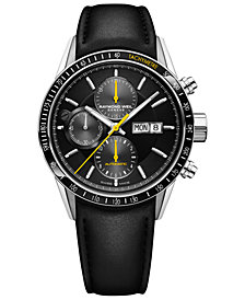 RAYMOND WEIL Men's Swiss Automatic Chronograph Freelancer 5000 Black Leather Strap Watch 42mm