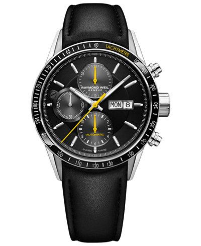 RAYMOND WEIL Men's Swiss Automatic Chronograph Freelancer 5000 Black Leather Strap Watch 42mm