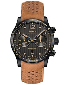Men's Swiss Automatic Multifort Brown Leather Strap Watch 44mm