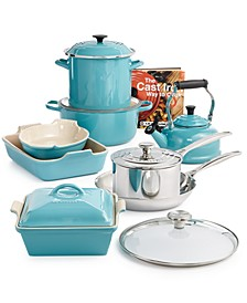 Multi-Materials Turquoise 14-Pc. Cookware Set, Created for Macy's