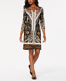 JM Collection Chain Lace-Up Sheath Dress, Created for Macy's