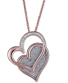 """Diamond Glitter Double Heart 18"""" Pendant Necklace (1/8 ct. t.w.) in 14k Rose Gold-Plated Sterling Silver"""