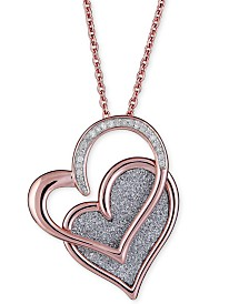 "Diamond Glitter Double Heart 18"" Pendant Necklace (1/8 ct. t.w.) in 14k Rose Gold-Plated Sterling Silver"