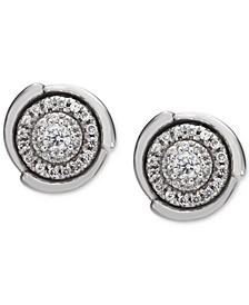 Diamond Halo Cluster Stud Earrings (1/4 ct. t.w.) in 14k White Gold