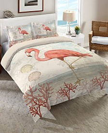 Laural Home Coastal Flamingo Twin Comforter