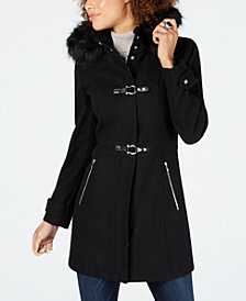 Ivanka Trump Faux-Fur-Trim Hooded Toggle Coat