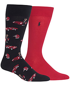 Polo Ralph Lauren Men's 2-Pk. Racecar Bears Dress/Casual Socks