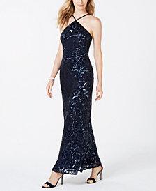 Nightway Sequined Mesh Gown