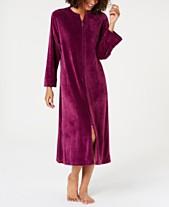 Miss Elaine Petite Velvet Fleece Long Zipper Robe d5067fe8f