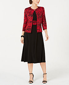 Jessica Howard Petite Printed Jacket & Fit & Flare Dress