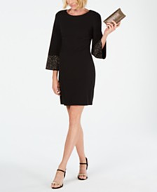 Jessica Howard Petite Embellished-Sleeve A-Line Dress