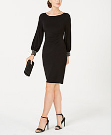 Jessica Howard Petite Embellished-Cuff Sheath Dress