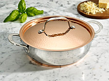 Lagostina Giada Stainless Steel 4 Qt. Dutch Oven with Hammered Copper Lid