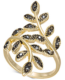 I.N.C. Gold-Tone Hematite Crystal Leaf Wrap Ring, Created for Macy's